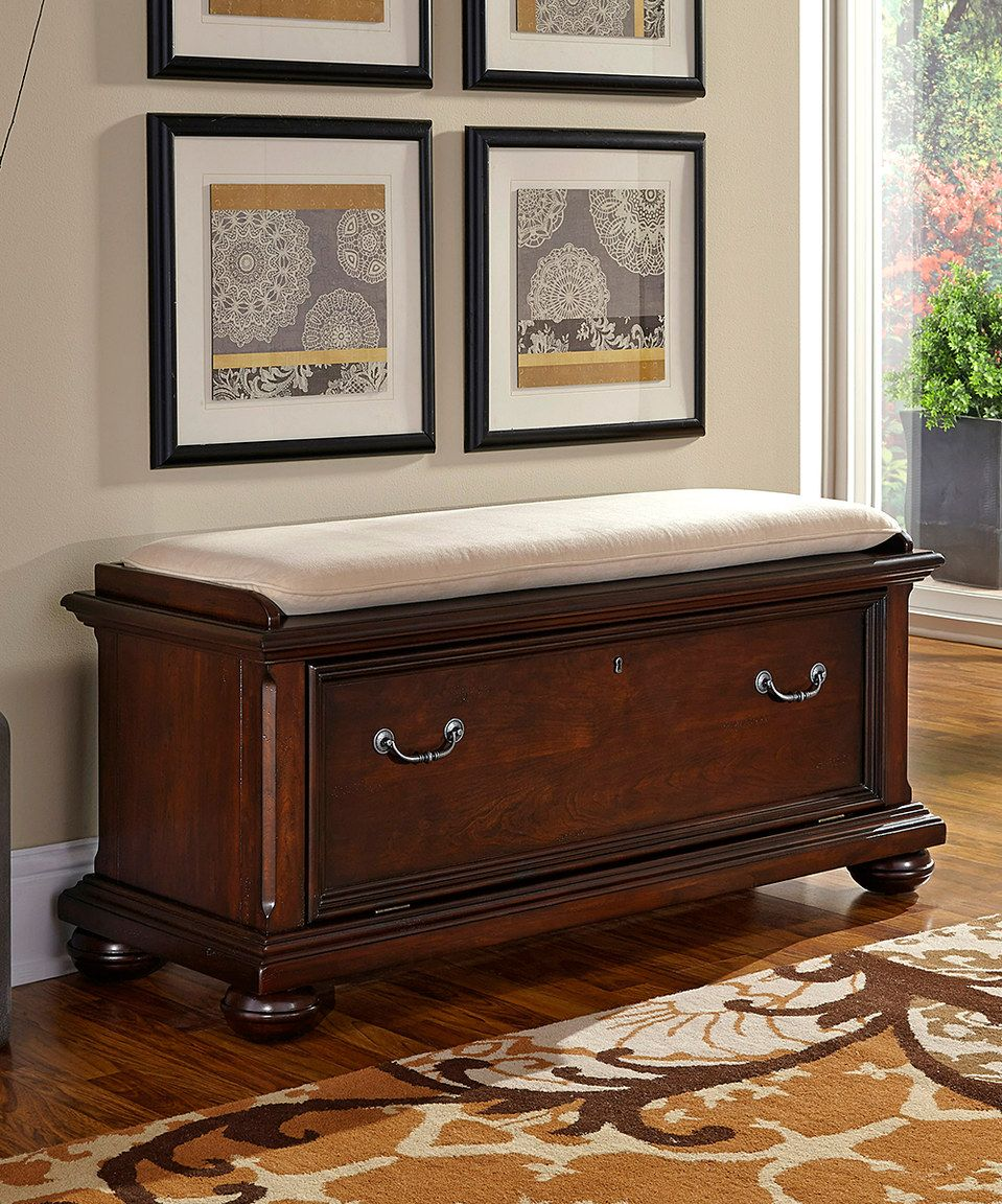 Dark Cherry Colonial Classic Upholstered Bench  Upholstered