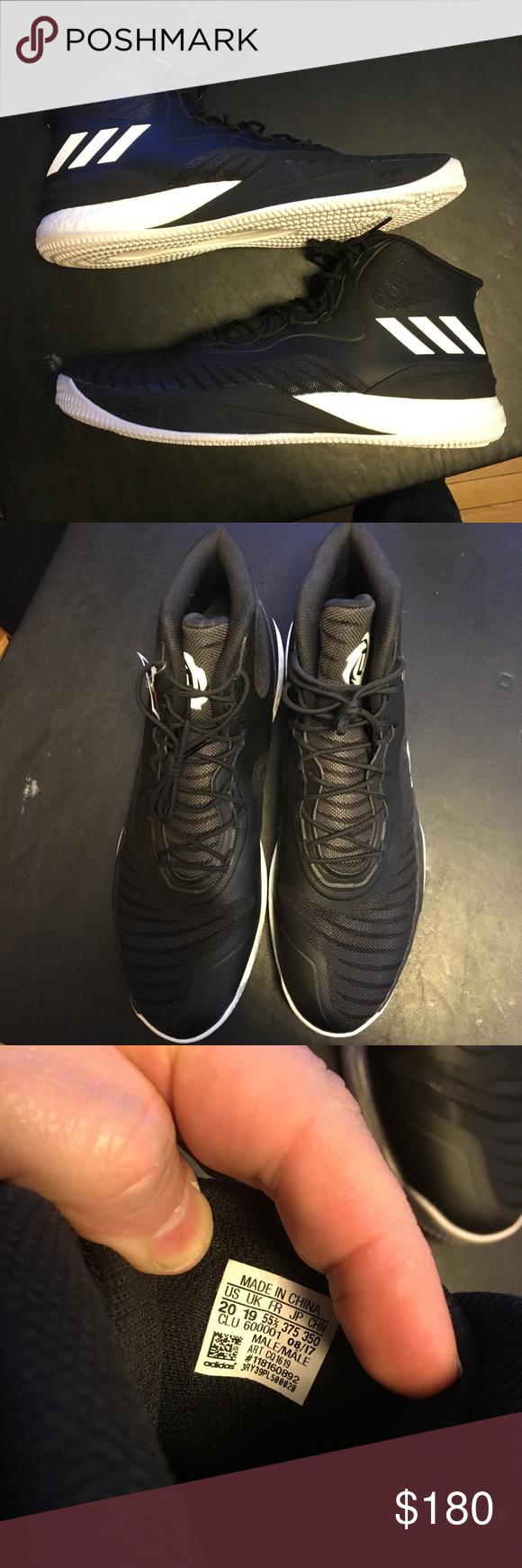 adidas Mens D Rose 8 Boost Basketball Shoes CQ1619 Black White Derrick Rose