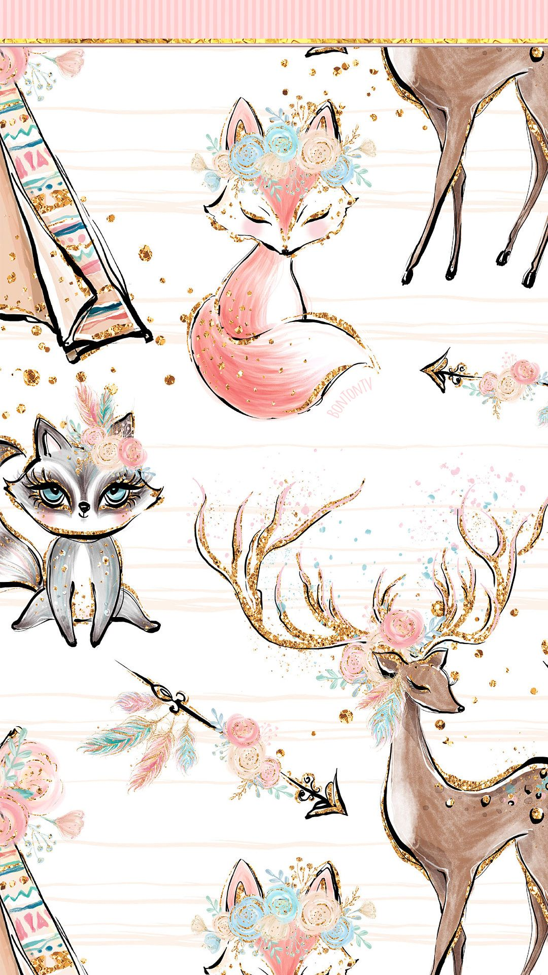 Phone Wallpapers Hd Cute Woodland Animals Pink Gold By Bonton Tv