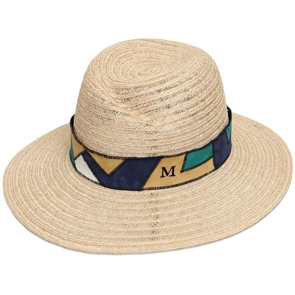 MAISON MICHEL Virginie Straw Hat With Patchwork Ribbon (48.515 RUB ... 5470ca277a4