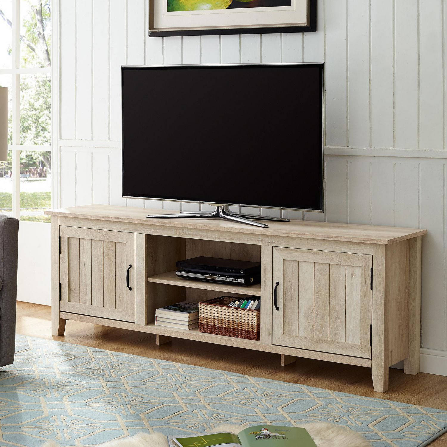 Manor Park Modern Farmhouse TV Stand with 2 Doors for TV's