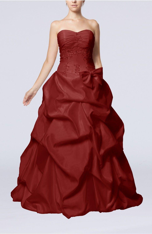 Burgundy Bridal Gown - Fairytale Outdoor Strapless Sleeveless Zip up Taffeta Floor Length