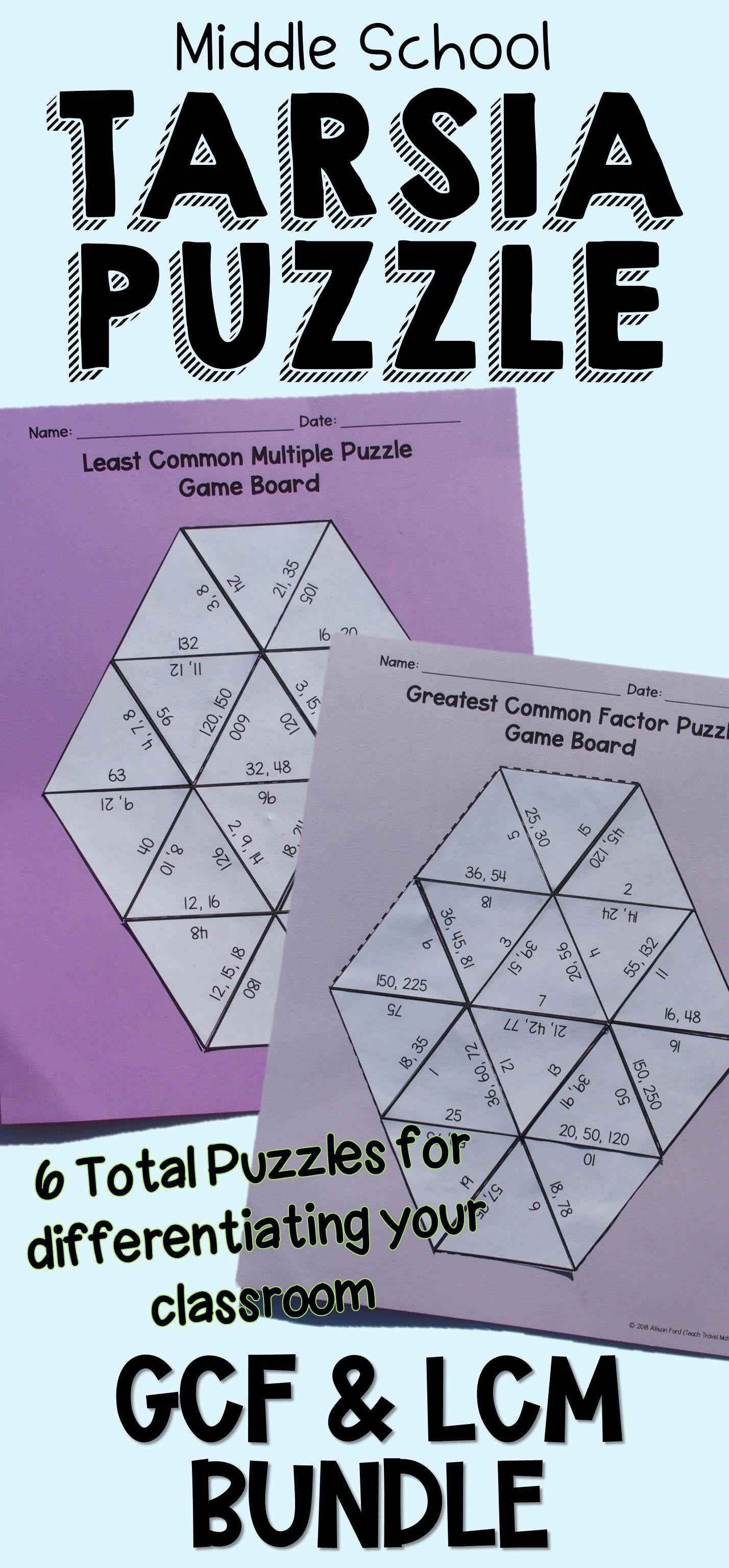 Greatest Common Factor Amp Least Common Multiple Tarsia