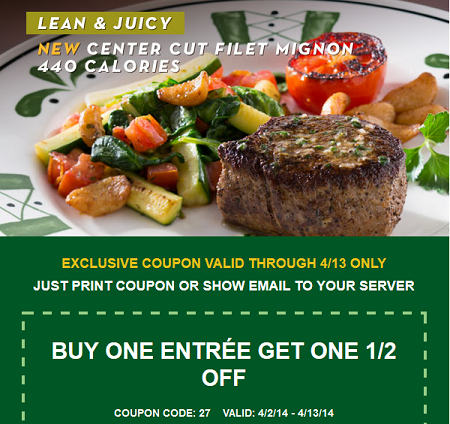 OLIVE GARDEN $$ Coupon for Buy One Entree, Get One 1/2 Off ...