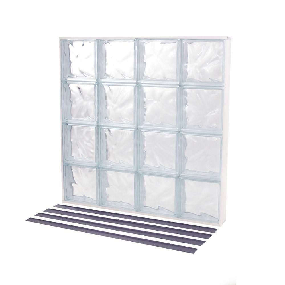 Tafco Windows 31 625 In X 31 625 In Nailup2 Wave Pattern Solid Glass Block Window Nu2 3232ws Glass Blocks Glass Block Windows Wave Pattern