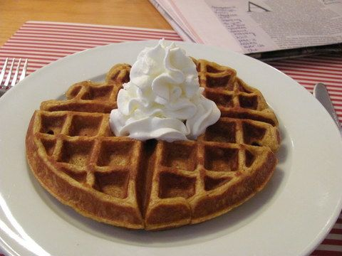 Whole grain pumpkin waffles!