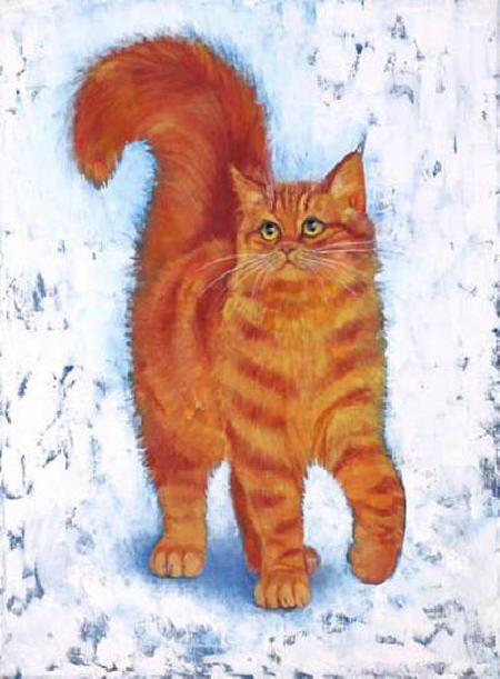 Orange Cat Paintings Stephanie Manchipp