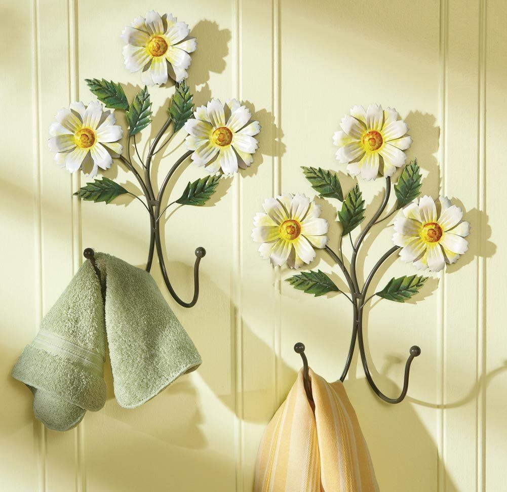 Amazon Spring Daisy Bathroom Ensemle Collection Decoration Floral White Sunflower Bath Shower Curtain Floor Mat Wall Hanging Hooks Comm