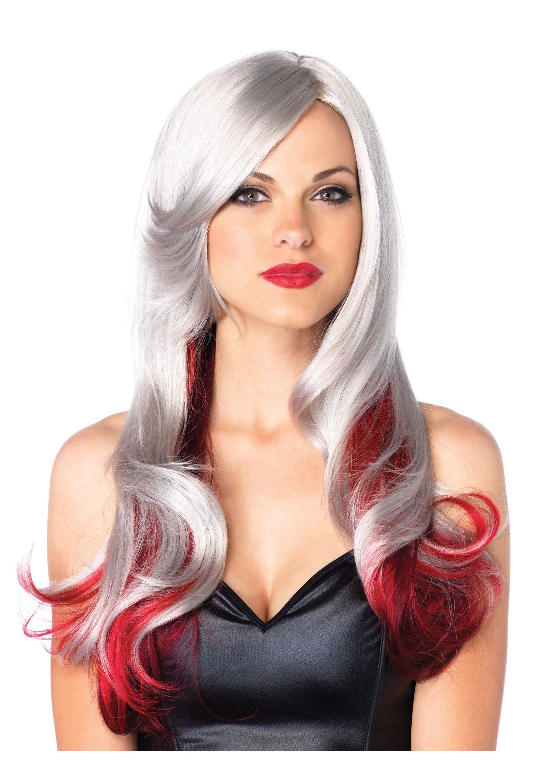 wigssilverhair red and gray two toned wig - Red Wigs For Halloween
