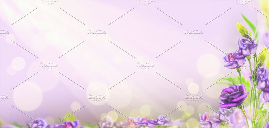 Purple floral banner or template by VICUSCHKA on @creativemarket