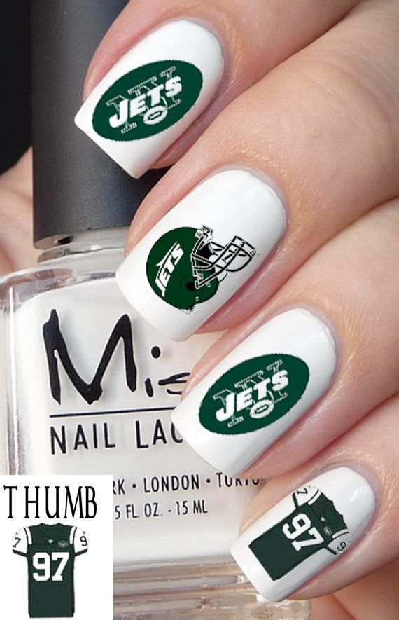50 pcs New York Jets Football Nail Decals by DesignerNails on Etsy ...