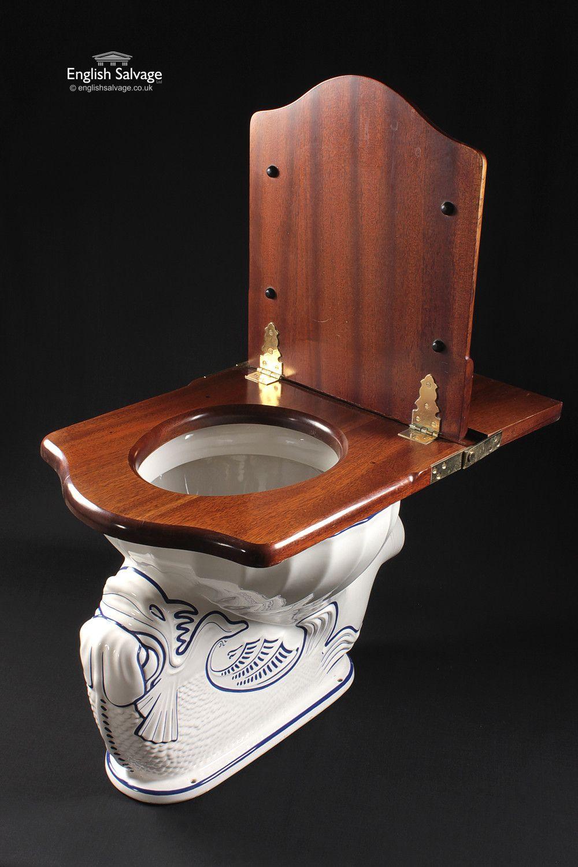 Vintage Edward Johns Dolphin Blue Toilet Bathroom Suite