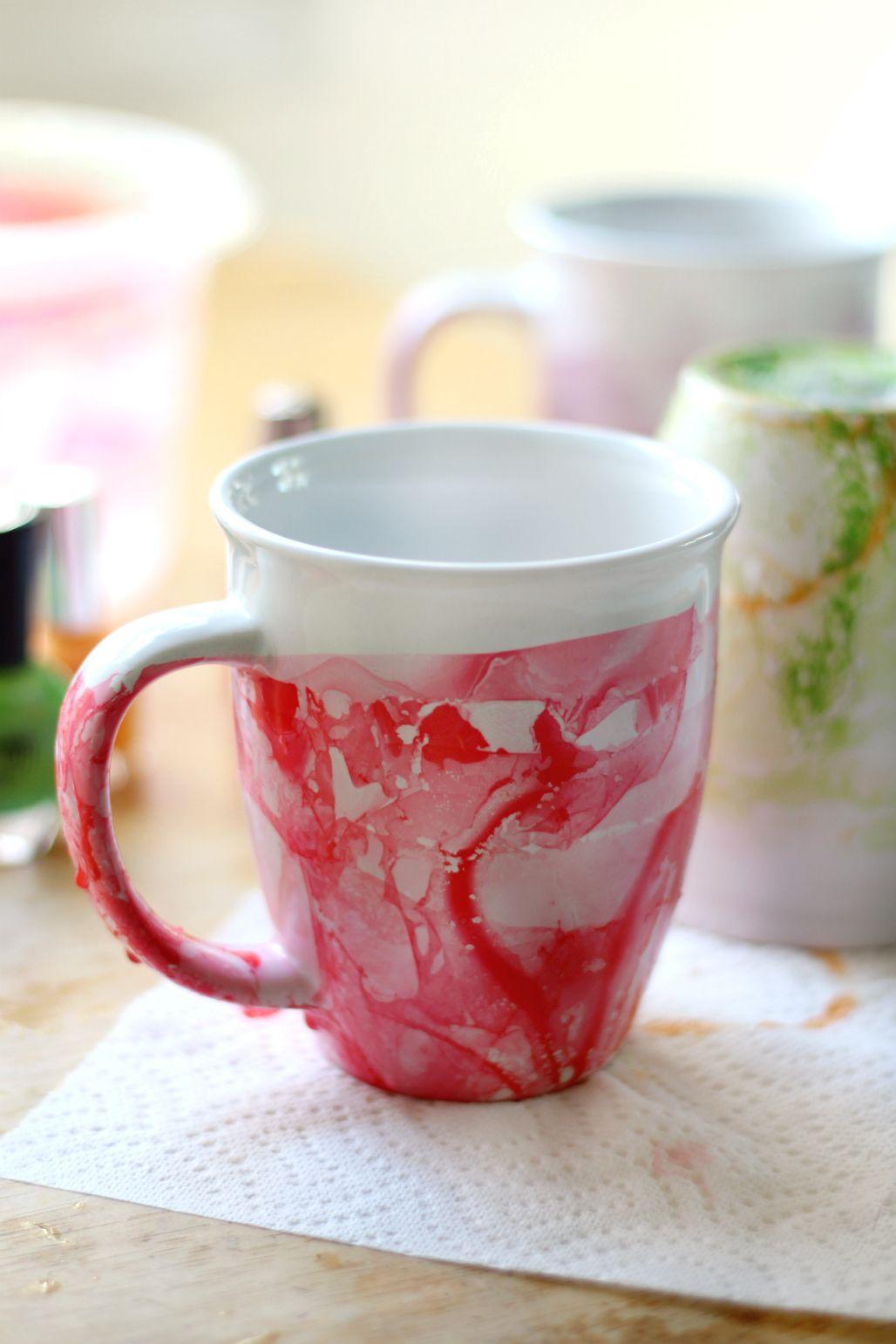 Diy Marbled Nail Polish Mugs Diy Christmas Gifts Christmas Diy Diy Gifts For Friends