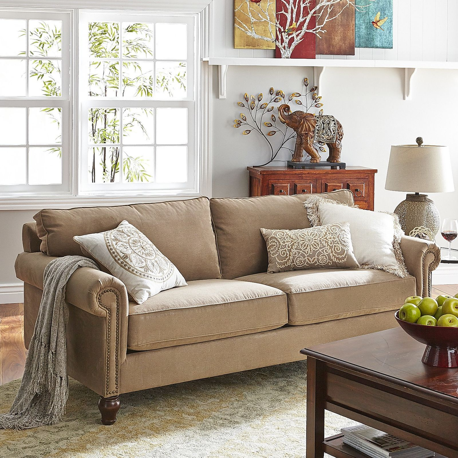 Neutral Sofa With Classic Roll Arm Design And Nailheads. Love The Soutache  Pattern And Medallion Pattern On The Throw Pillows. Pier One.