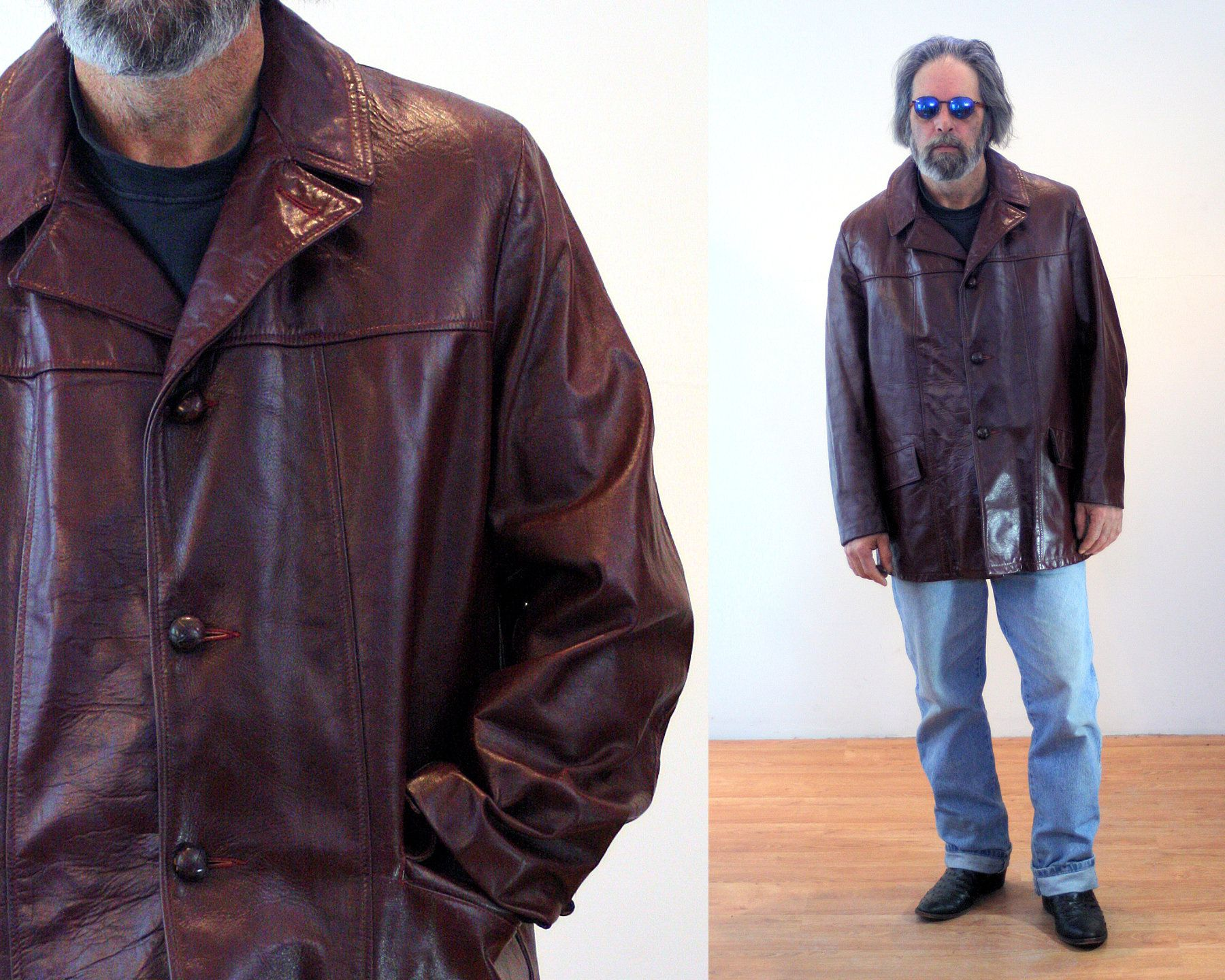 70s Leather Jacket 48 Xl Vintage Men S Oxblood Brown Etsy Leather Jacket Mens Leather Coats Vintage Men [ 1440 x 1800 Pixel ]
