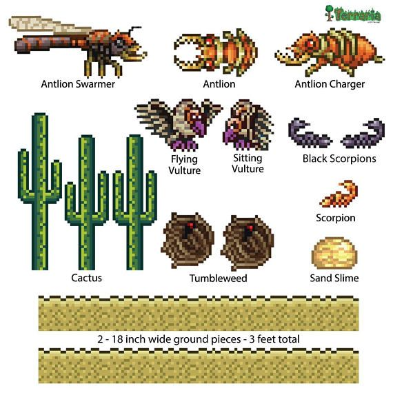 Terraria Desert Biome Add On Wall Decal Set Terraria Gift Etsy In 2020 Desert Biome Biomes Terrarium Gifts