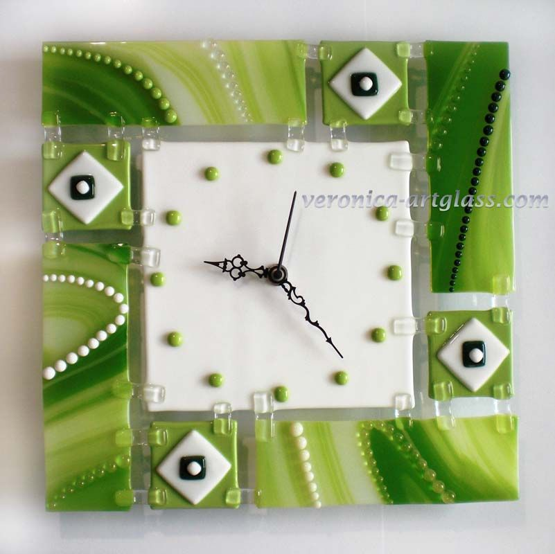 Art Glass Wall Clock GREEN LAKE fusing I LOVE GLASS