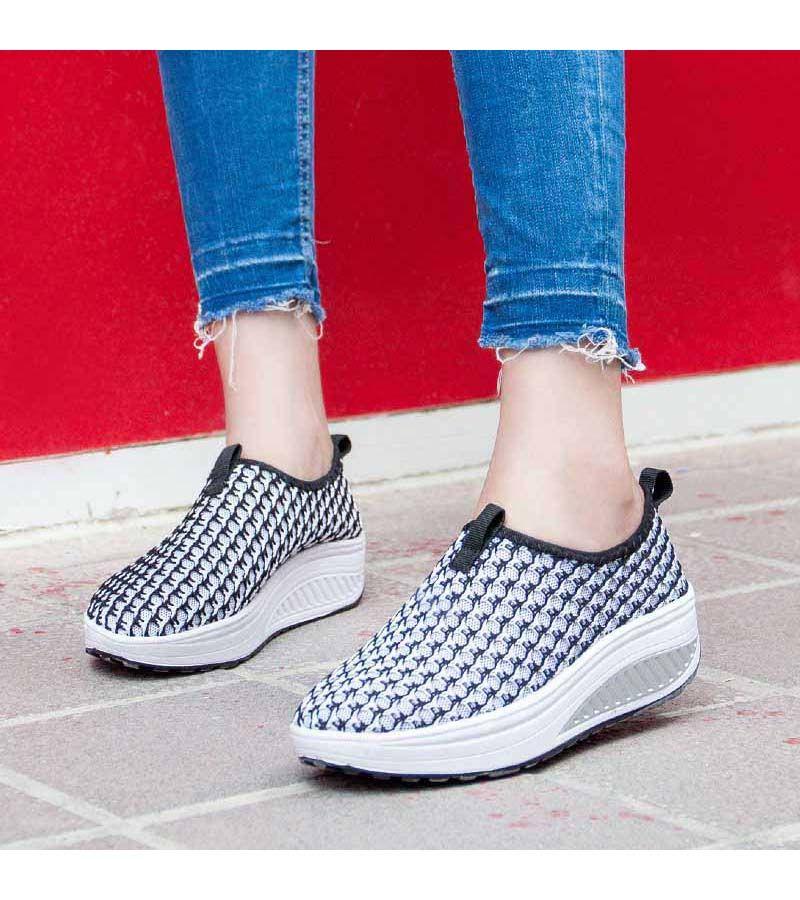 Women S Black Slipon Rocker Bottom Sole Shoe Sneakers Check Pattern Lightweight Hollow Out Slip On S Rocker Bottom Shoes Canvas Shoes Women Shape Up Shoes
