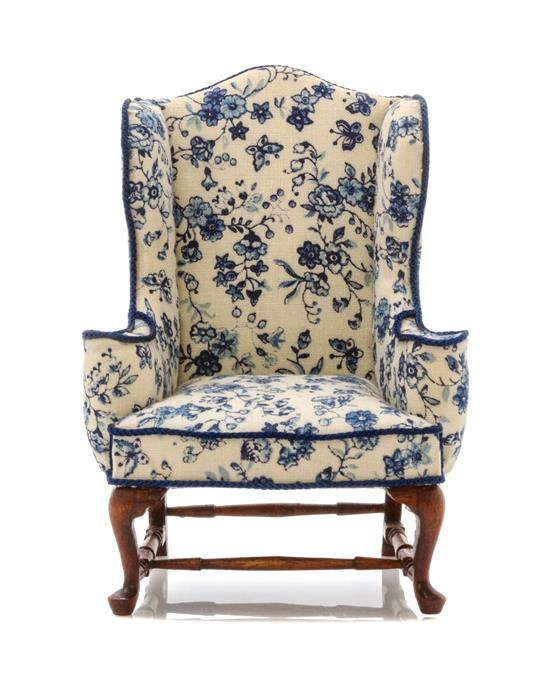 ♥ ~ ♥ Blue and White ♥ ~ ♥ An American Upholstered Wingback Armchair, Height 4 inches