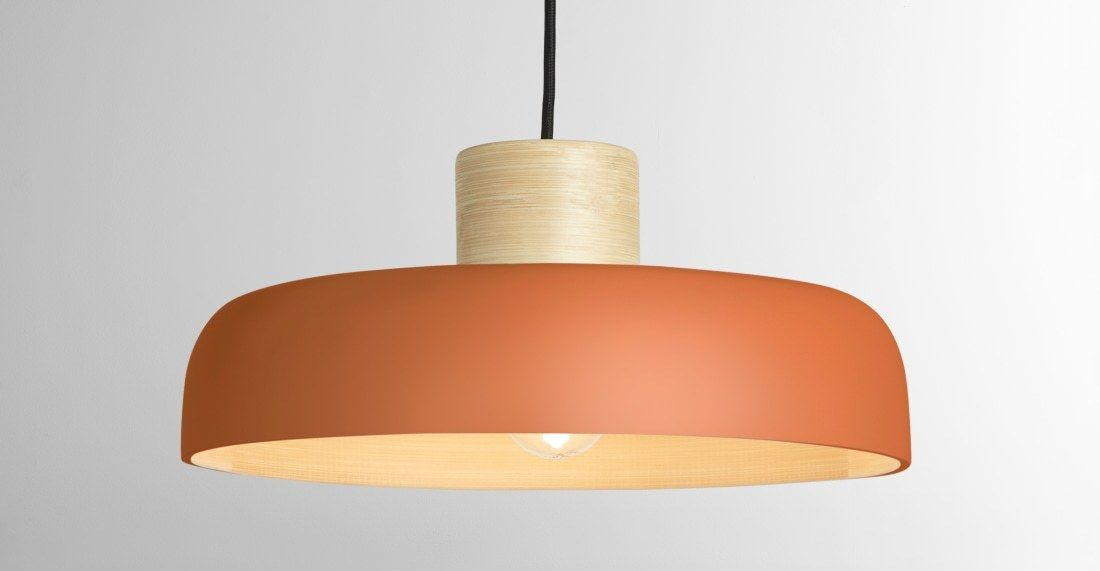 Todd Pendant Shade Orange Bamboo Orange Pendant Light