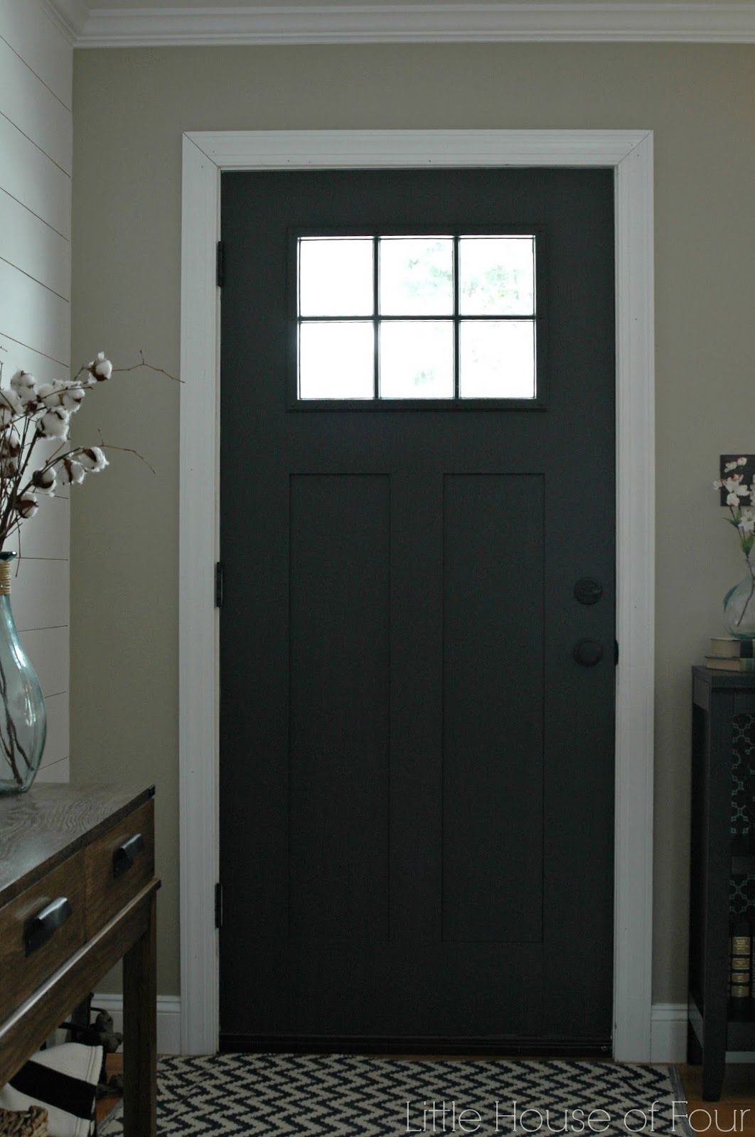 Updating The Entryway With Sherwin Williams Iron Ore Painted Front Doors Door Color Black Interior Doors