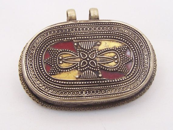 Vintage Tribal Pendant Inlaid with Red Glass by ghoghooghora, $34.99