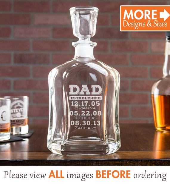 Whiskey Decanter Liquor Decanter Personalized Gift Dad Established Gift Etched Whiskey Decanter Products Decanter Whiskey Decanter All About Time