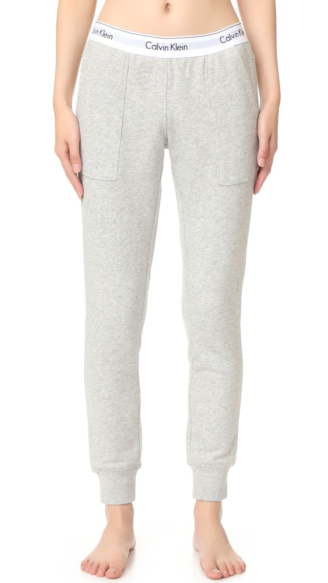 28e7a691f67f Calvin Klein Underwear Modern Cotton Jogger Pants - Grey Heather. Slouchy Calvin  Klein Underwear sweatpants with a classic logo print elastic waistband.
