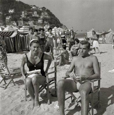 Esther Williams & Fernando Lamas en la Playa de la Concha de San Sebastián