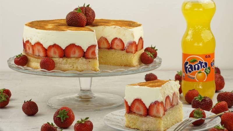 Fanta Kuchen Mit Erdbeeren Erdbeer Kuchen Backparty Kuchen