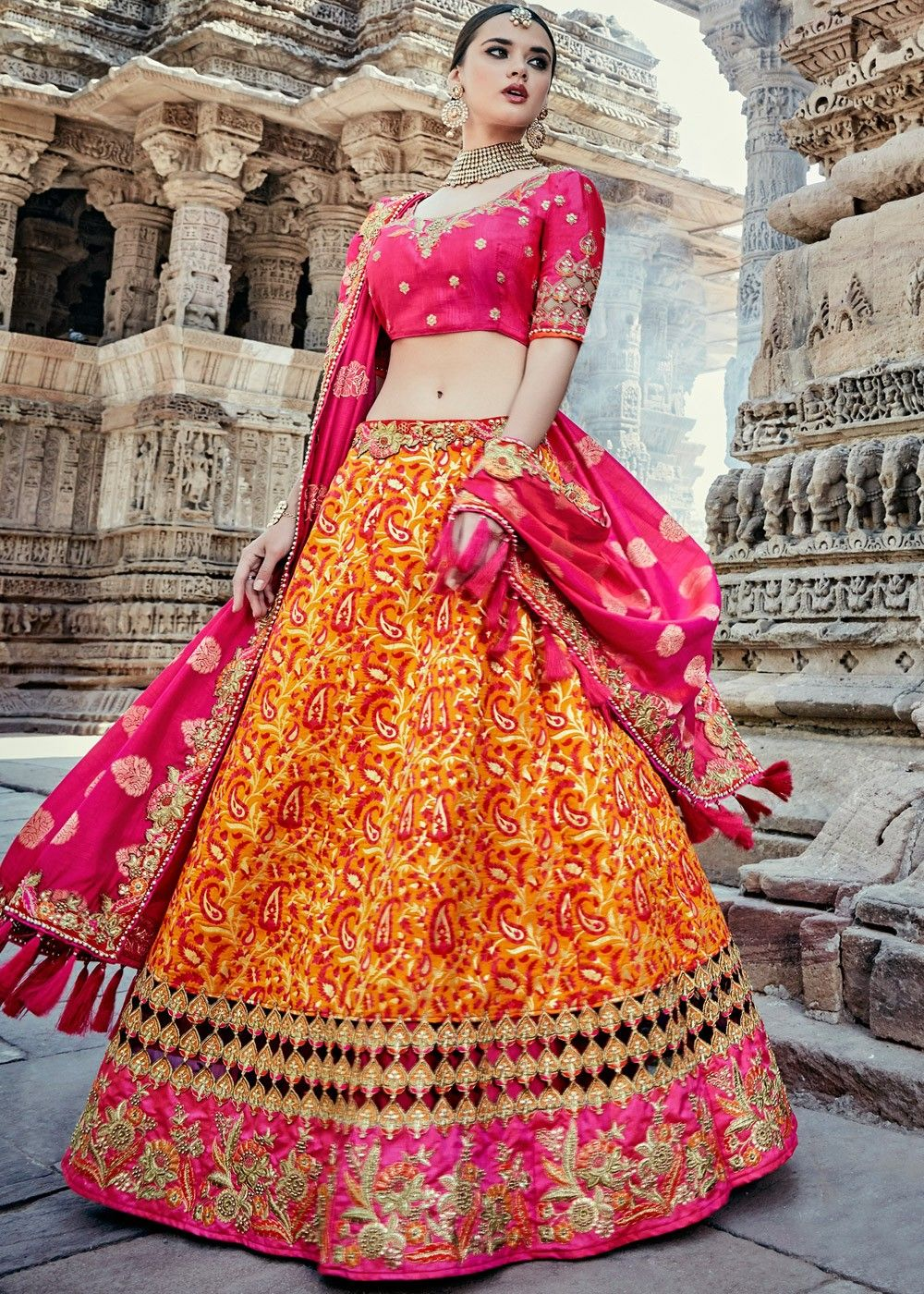 1c06a2e8e2 #Yellow A Line woven bridal #lehenga in #banarasi #silk embellished with  intricate #zari #embroidery, beaded details and stone work.