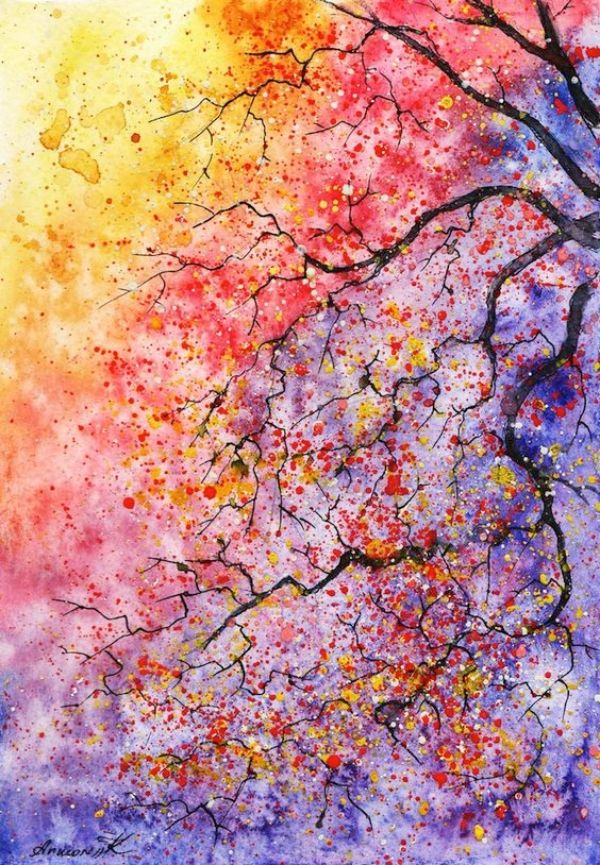 Easy Watercolor Painting Ideas For Beginners Watercolor Tree