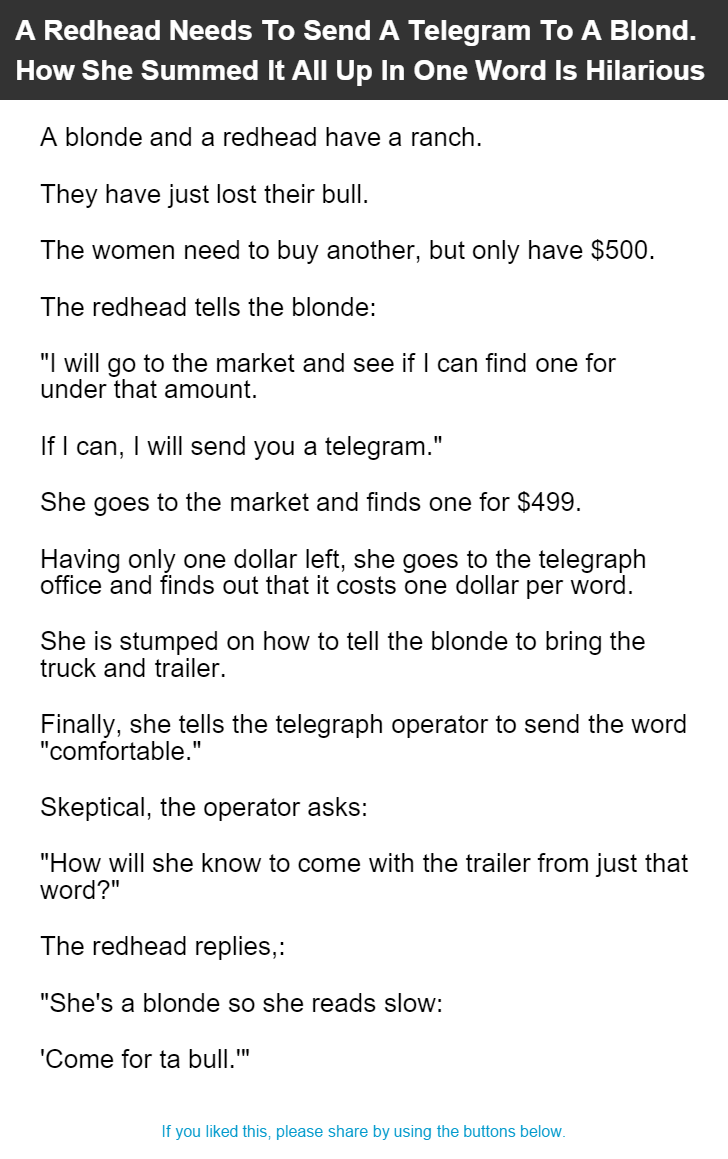 A Redhead Needs To Send A Telegram To A Blond How She Summed It All