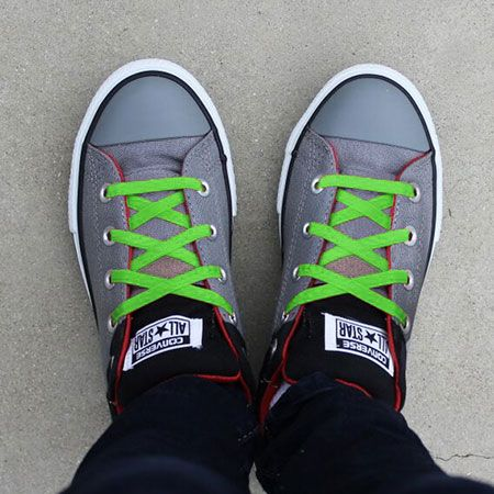 Green Elastic Laces for Kid's No Tie Locking Shoelaces by