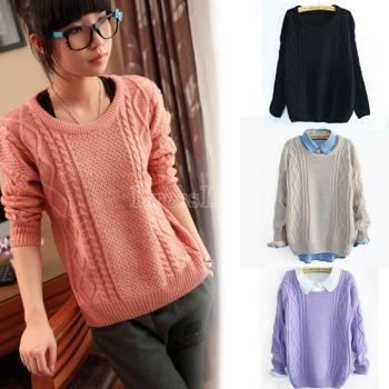 Restore Warm Women Knit Loose Long Sleeve Sweater Big Size
