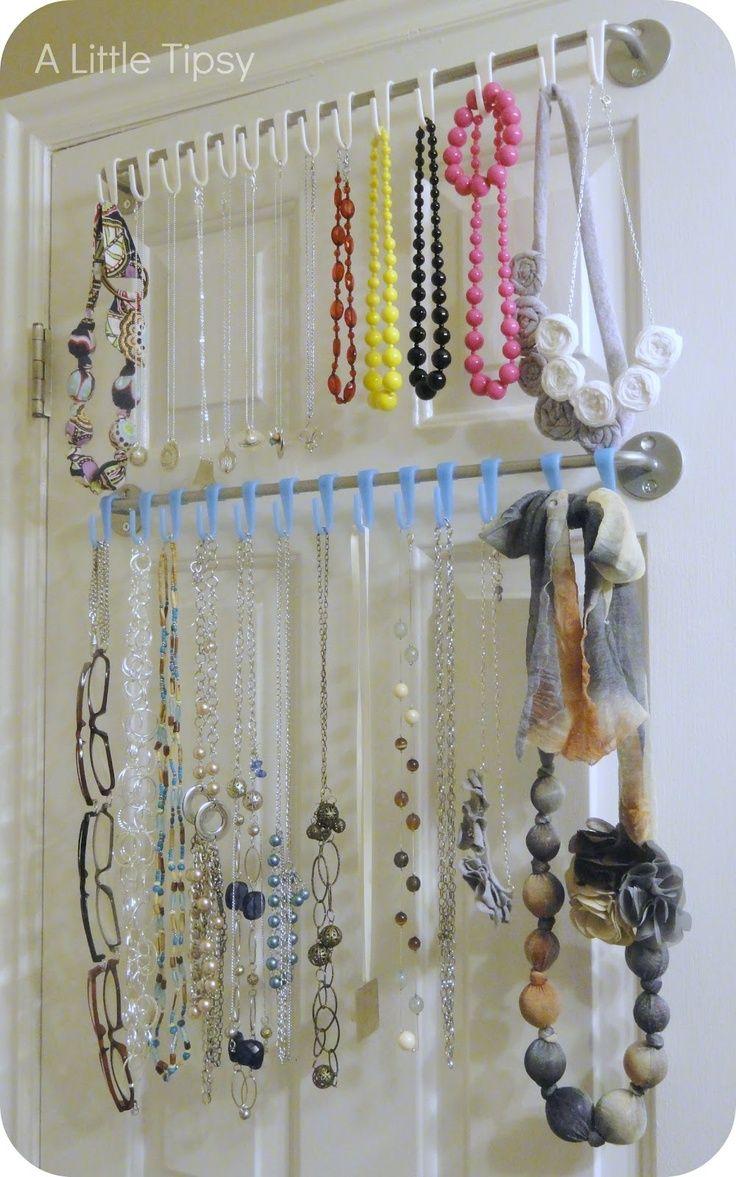 Shower curtain or regular curtain rod as a jewelry organizer! I ...