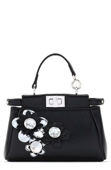 20b1837803e1 Fendi  Micro Peekaboo - Flowers  Leather Satchel (Extra Small ...