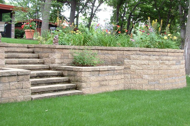 Pros matching capstone over brick steps and wall cons for Landscape retaining wall design