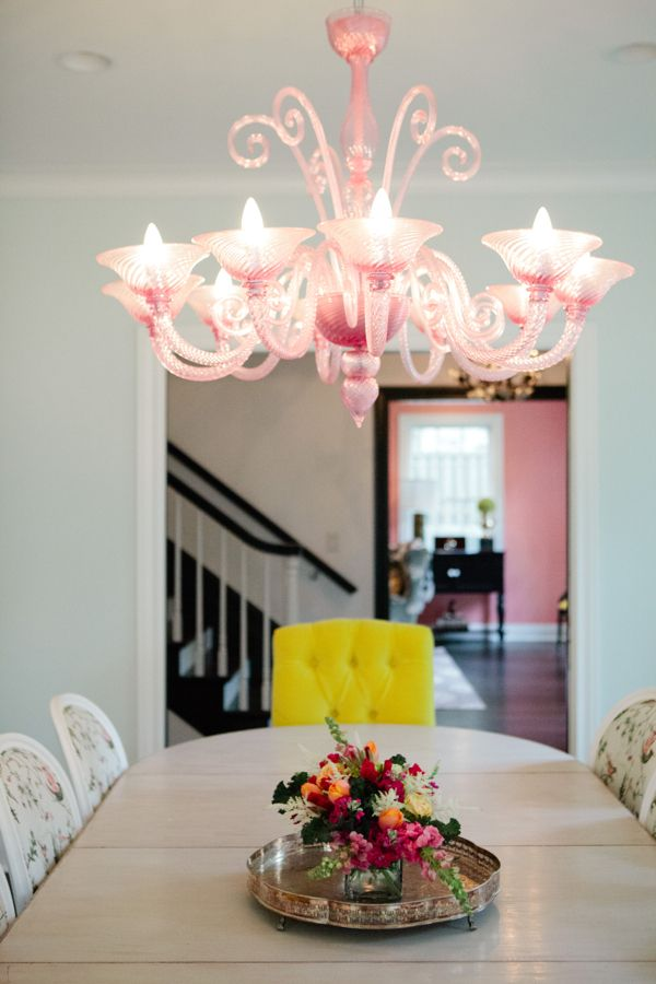 Texas Home Pink Dining Rooms Pink Chandelier