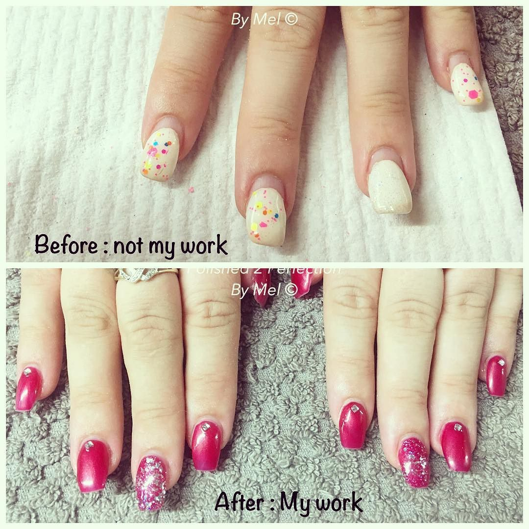 Mel C On Instagram Before And After Infill On Ballerina Acrylics With Gel Polish And Bling Acrylicnails Ballerinana Nails Trendy Nails Gel Nails