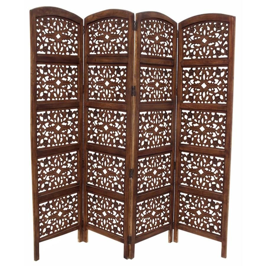 Benzara 4 Panel Brown Wood Folding Traditional Style Room Divider Lowes Com Wooden Partitions Room Divider Partition Screen