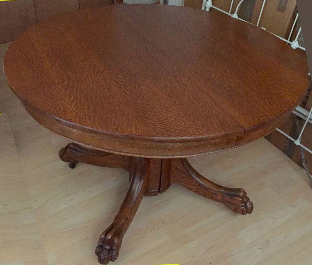 Antique quarter sawn tiger oak claw foot dining table 3 leaves antique quarter sawn tiger oak claw foot dining table 3 leaves 45 72 geotapseo Choice Image