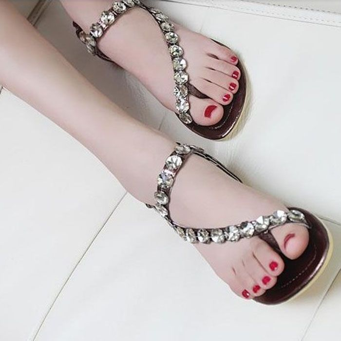 Crystal Sandals Phinestone Flats Casual Women's Sandals Shoes Woman New 2014 Summer Shoes US $19.98
