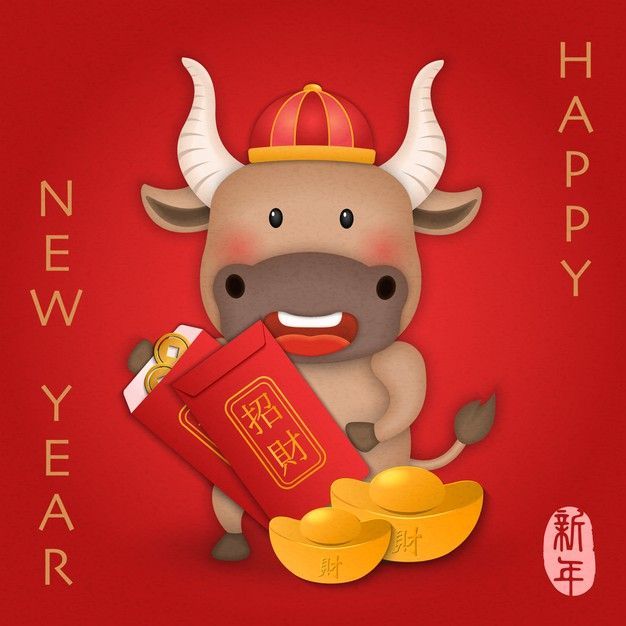 2021 Chinese New Year Of Cute Cartoon Ox Holding Red Envelope. Chinese Translation : New Year And Urshing Wealth.