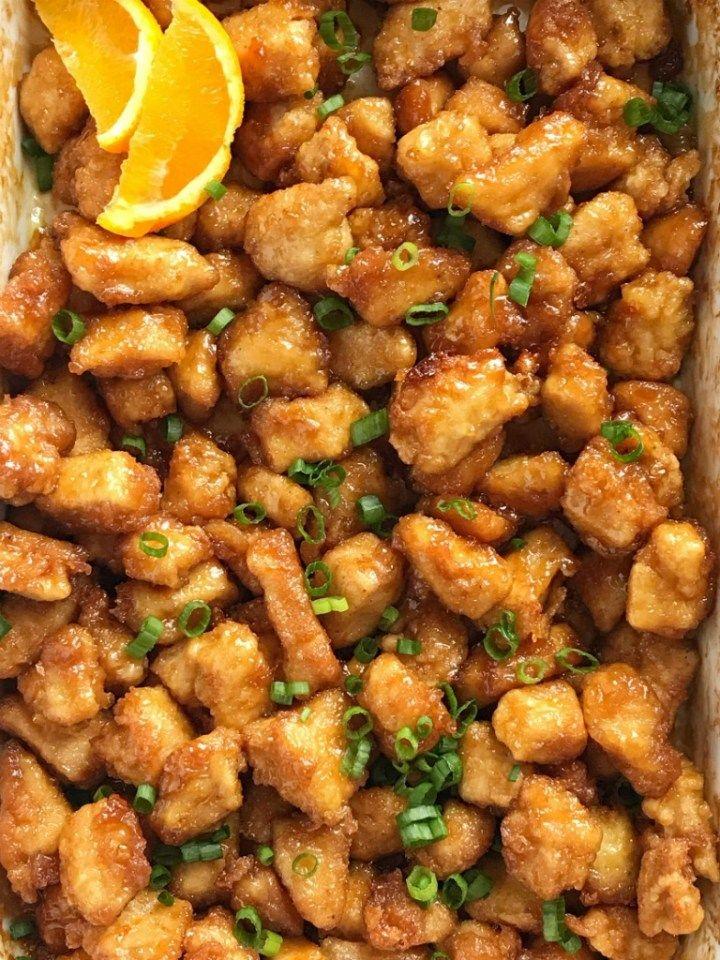 baked crispy orange chicken  chinease food  dinner