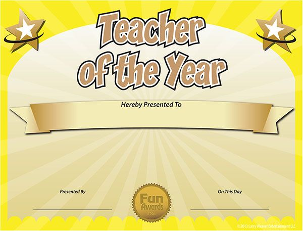 Printable Certificates for Teachers Free Teacher of the Year