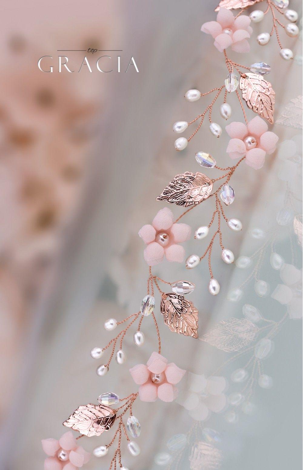 KORE Blush Rose Gold Bridal Flower Tiara Crown Flower Girl Headband #crowntiara