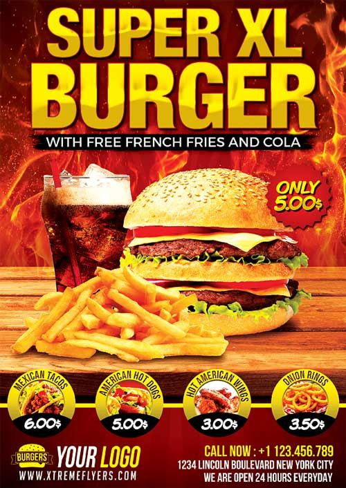 Fast Food Flyer Template -    xtremeflyers fast-food-flyer - food flyer template