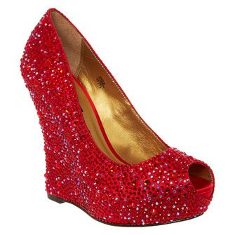 Shimmering Red Wedge Heel Shoe