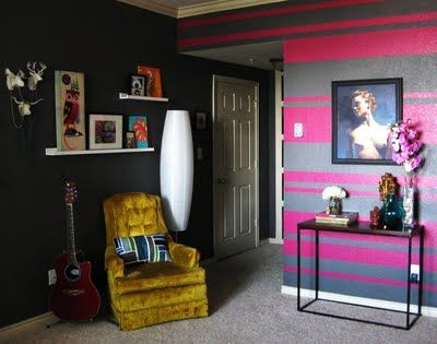 Striped Accent Wall Perfect For A Gaming Room Just Probably Different Colors Striped Accent Walls Red Accent Wall Beige Walls